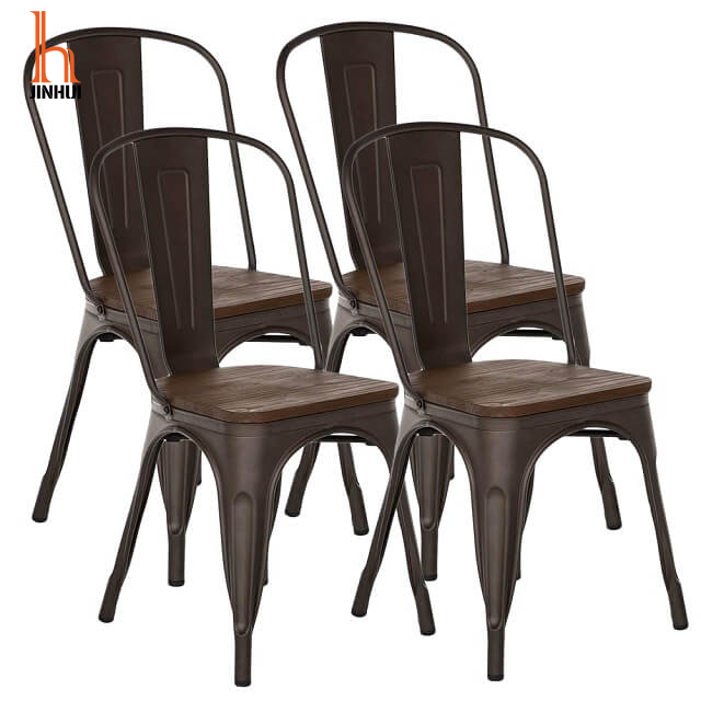 H Jinhui Industrial Metal Chairs with Wood Seat