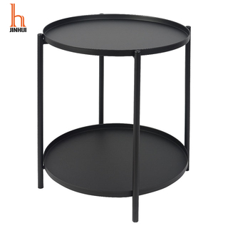 H Jinhui Double Layer Center Coffee Table Small Round Matal Side Table for Living Room Or Bedroom