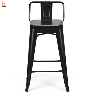 H JINHUI Metal Bar Stool With backrest Modern Light Weight Industrial Metal Bucket Back Barstool