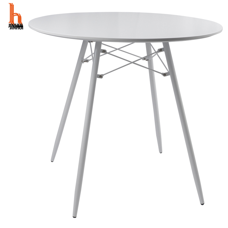 H JINHUI Chinese Factory Price Modern Simple Style MDF Wooden Round Top Dining Table for The Top with Metal Legs for Hotel Home Restaurant