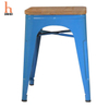 H Jinhui Backless short Metal Stool with Wood Seat