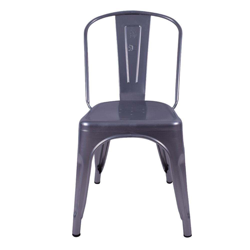 H-jinhui Gun Gray Restaurant Metal Chairs