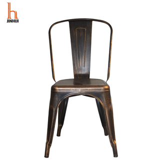 H Jinhui Distressed Copper Armless Metal Dining Chair