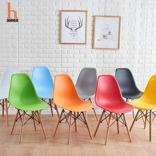 H Jinhui Plastic Side Chair plastic dining chair with wood leg